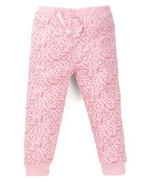Fox Baby Full Length Track Pant Allover Print - Pink