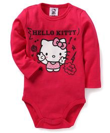 Fox Baby Long Sleeves Onesies Hello Kitty Print - Fuchsia Pink