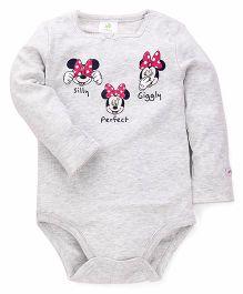 Fox Baby Full Sleeves Onesies Minnie Mouse Print - Grey