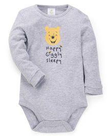 Fox Baby Full Sleeves Onesies Printed - Melange Grey