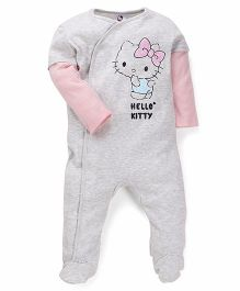 Fox Baby Footed Rompers Kitty Print - Grey Pink