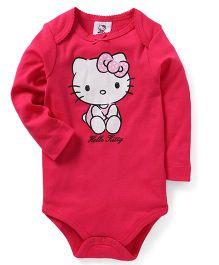 Fox Baby Full Sleeves Onesie Hello Kitty Print - Fuchsia
