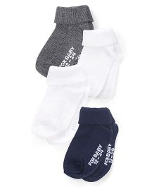 Fox Baby Socks Pack Of 4 - White Grey Navy
