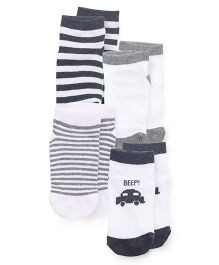 Fox Baby Socks Pack Of 4 - Grey White Blue