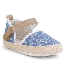Fox Baby Mary Jane Style Booties Floral Design - Denim Blue