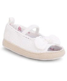 Fox Baby Booties Bow Applique - Off White