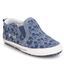 Fox Baby Booties Allover Mickey Print - Blue