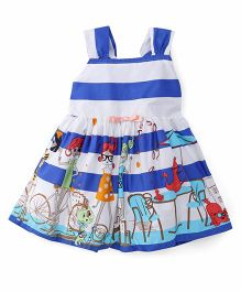 Rosy Bow Halter Neck Frock Stripes Printed - Blue White