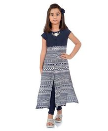 Rosy Bow Sleeveless Tunic Printed With Leggings - Navy Blue