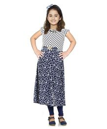 Rosy Bow Sleeveless Tunic Printed With Leggings - Navy Blue White