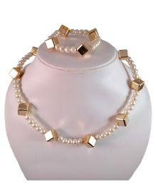 Tiny Closet Pearl Necklace & Bracelet Set - Pearl White