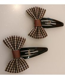 Tiny Closet Pair Of Checkered Bow Snap Clips - Brown