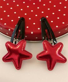 Tiny Closet Pair Of Star Applique Snap Hair Clips - Red