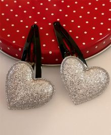 Tiny Closet Pair Of Heart Applique Snap Hairclips - Silver