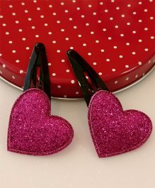 Tiny Closet Pair Of Heart Applique Snap Hairclips - Hot Pink
