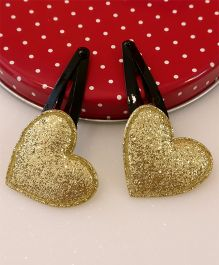 Tiny Closet Pair Of Heart Applique Snap Hairclips - Golden