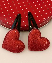 Tiny Closet Pair Of Heart Applique Snap Hairclips - Red