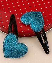 Tiny Closet Pair Of Heart Applique Snap Hairclips - Blue