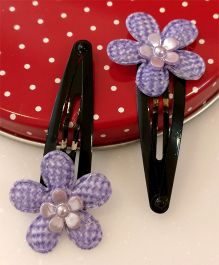 Tiny Closet Pair Of Floral Applique Snap Hairclips - Purple