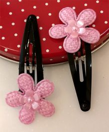 Tiny Closet Pair Of Floral Applique Snap Hairclips - Baby Pink