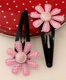 Tiny Closet Pair Of Floral Applique Tic Tak Hairclips - Baby Pink