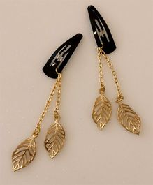 Tiny Closet Pair Of Danglers Leaf Snap Hairclips - Golden