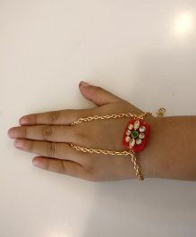 Tiny Closet Red Stone Attached Finger & Wrist Chain - Golden & Red