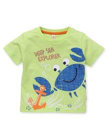 Spark Half Sleeves T-Shirt Crab & Anchor Print - Light Green