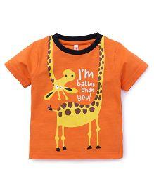 Spark Half Sleeves T-Shirt Giraffe Print - Orange
