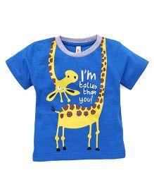 Spark Half Sleeves T-Shirt Giraffe Print - Royal Blue