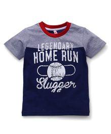 Spark Half Sleeves T-Shirt Home Run Slugger Print - Grey & Blue