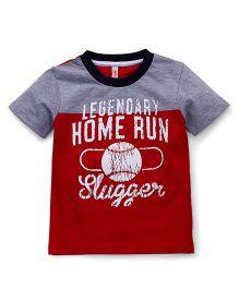 Spark Half Sleeves T-Shirt Home Run Slugger Print - Grey & Red