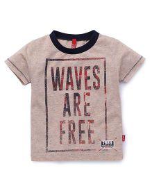Spark Half Sleeves T-Shirt Waves Are Free Print - Light Orange