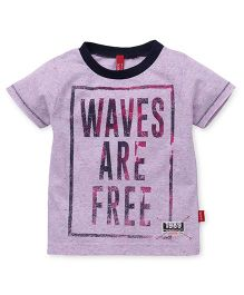 Spark Half Sleeves T-Shirt Waves Are Free Print - Pink