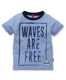 Spark Half Sleeves T-Shirt Waves Are Free Print - Blue