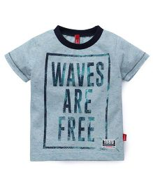 Spark Half Sleeves T-Shirt Waves Are Free Print - Green