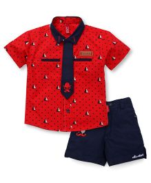 Spark Half Sleeves Boat And Dot Printed Shirt And Shorts Set - Red
