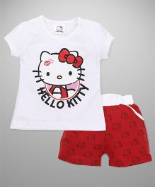 Hello Kitty by Babyhug Short Sleeves Tee With Shorts Printed - White Red