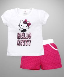 Hello Kitty by Babyhug Short Sleeves Top & Shorts Set - White Pink