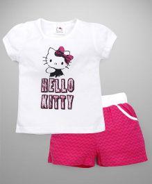 Hello Kitty by Babyhug Short Sleeves Top & Shorts Set - White Pink