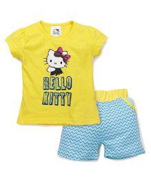 Hello Kitty by Babyhug Short Sleeves Top & Shorts Set - Yellow Blue