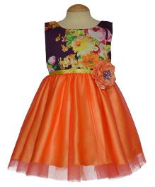 Simply Cute Semi Printed Boat Neckline Dress With Flower Applique - Plum & Orange