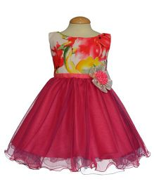 Simply Cute Floral Printed Dress With Long Zipper & Flower Applique - Fuchsia