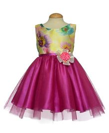 Simply Cute Poppy Bloom Dress With Flower Applique- Rose Pink