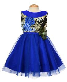 Simply Cute Round Neck Floral Applique Dress - Ink Blue