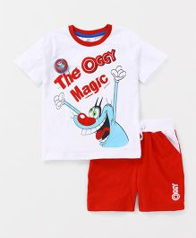 Oggy by Babyhug Half Sleeves Tee & Shorts With Badge - White & Red