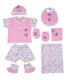 Kiwi Polka Dots Print Gift Set Pack of 7 - Pink