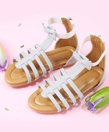 LCL Ankle Length Sandals With Bow - Silver