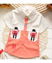 Lil Mantra Soldier Print Shirt - Orange & White