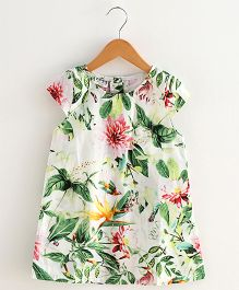 Lil Mantra Leaves & Flowers Print Dress - Multicolour